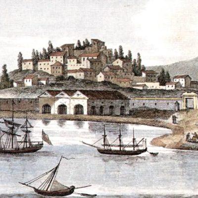 Korfu - alter Tiefdruck des Hafens