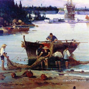 Korfu Geschichte - Fischer in Garitsa in alten Gravur