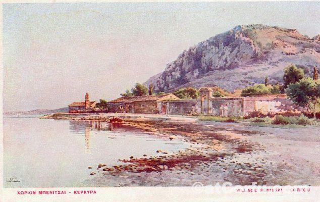 Benitses Geschichte - Strand in Paipeti Bereich letzten Jahrhunderts