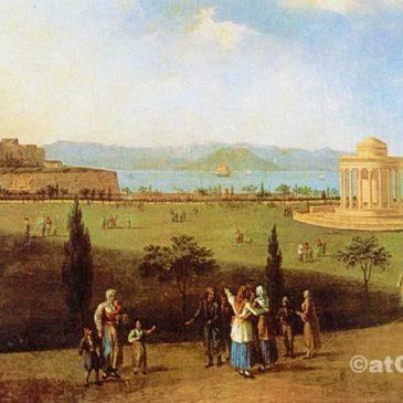 Korfu Geschichte - alte Festung von Garitsa in alten Gravur