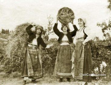 Korfu alte Fotos-arbeitende Frauen im Land 1917
