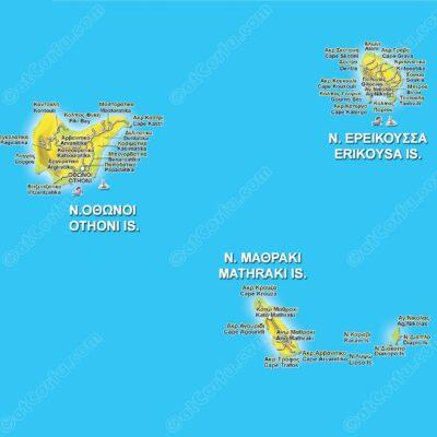Diapontia Inseln Karte