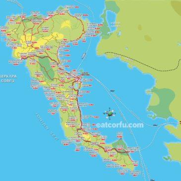 Karte mit Entfernungen in Korfu