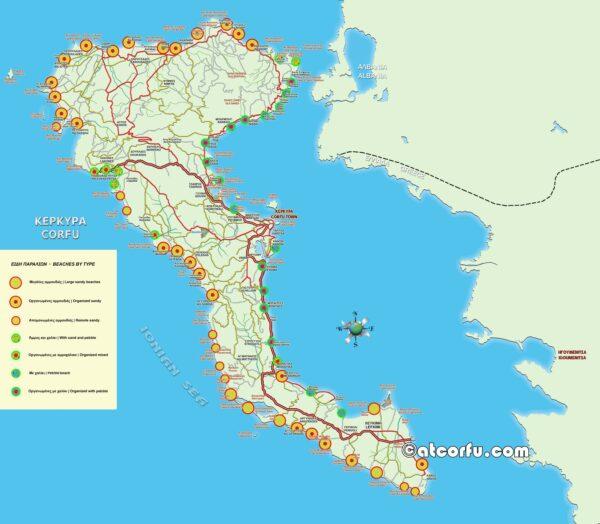 Χάρτης παραλιών της Κέρκυρας ανά τύπο