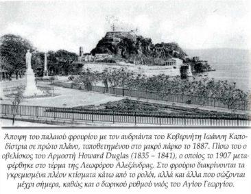 Άγαλμα Καποδίστρια και πίσω το παλιό φρούριο