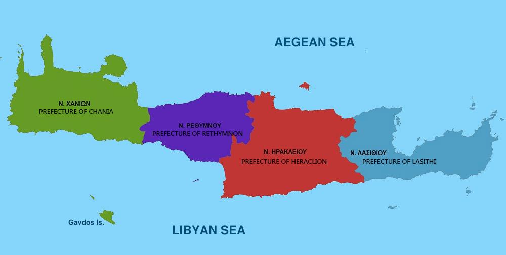 Διοικητικός χάρτης Κρήτης