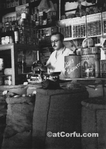 Antreas Kontos at grosery shop 1960