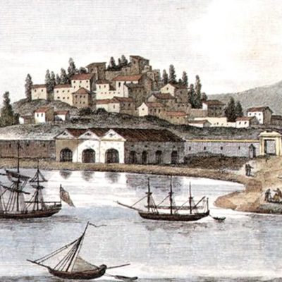 Corfu - old gravure of the port