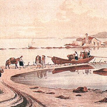 Corfu - old gravure of the road to mouse island