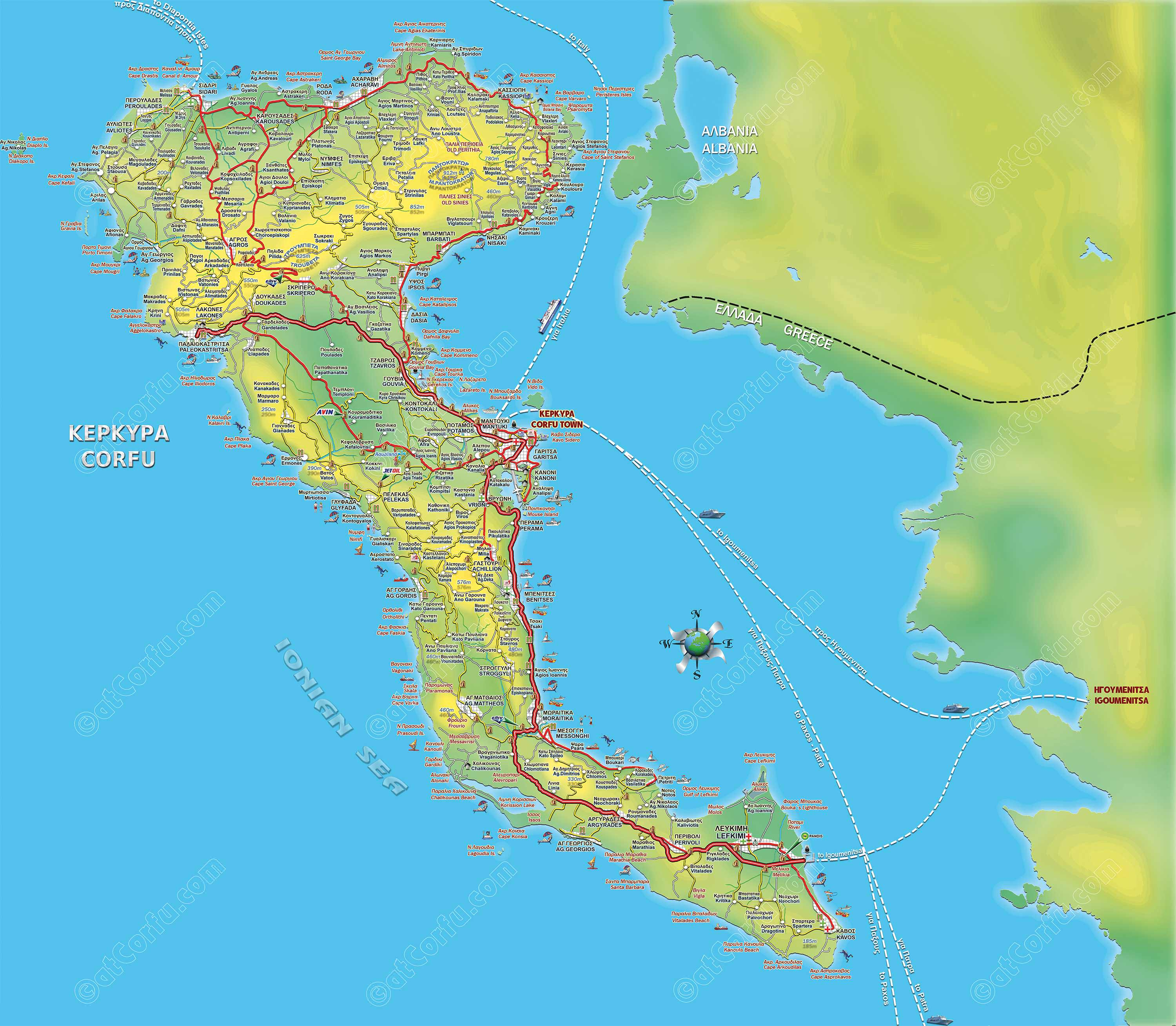 Corfu island road map atCorfucom