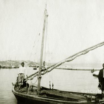 Corfu old photos-fishermen in a boat
