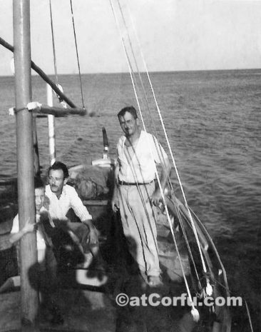 Benitses - Nionios and Babakos in the boat at 1982