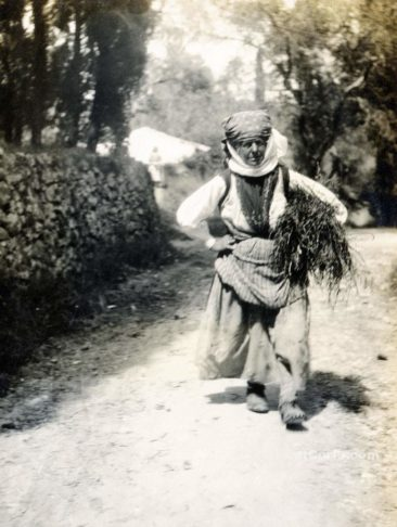 Corfu old photos-woman carry woods