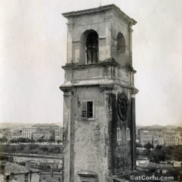 Corfu old photos-clock tower in old fortress