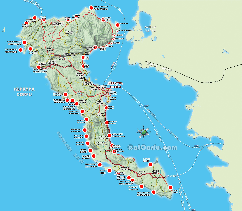 Corfu Beaches map
