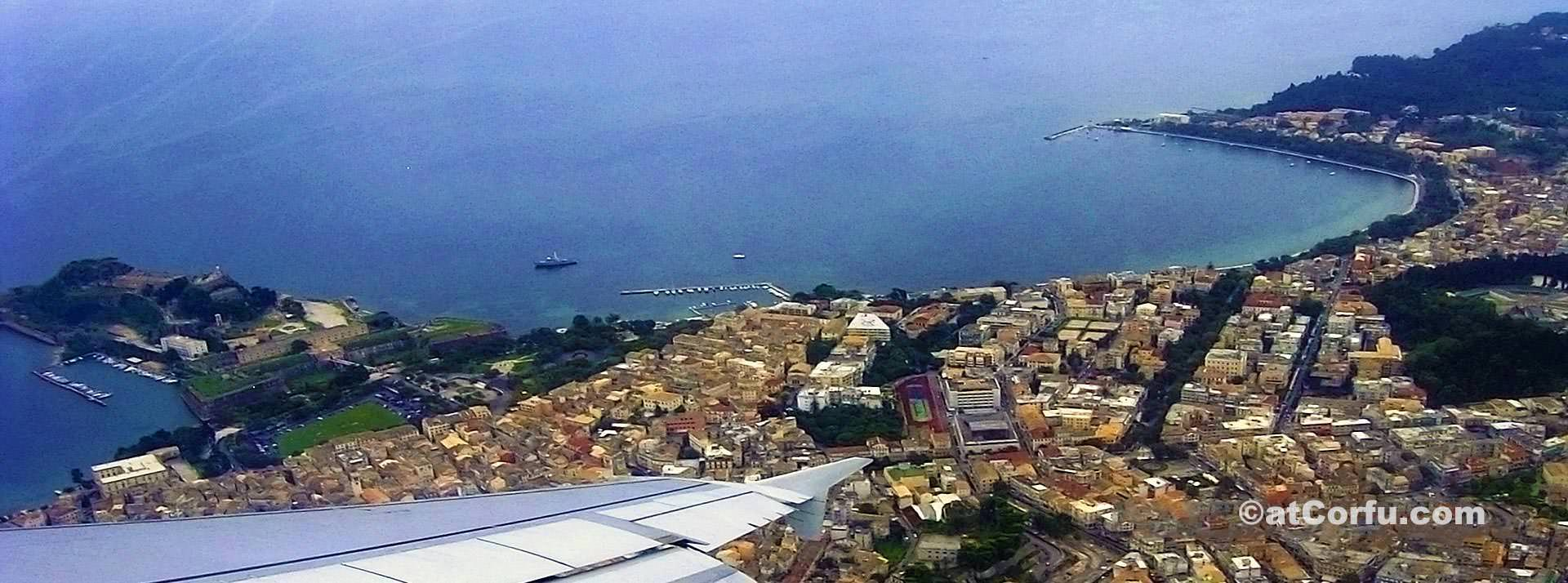 Corfu town from plane