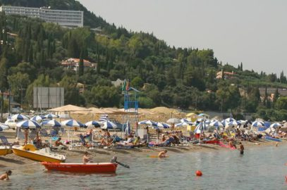 Benitses beach outside the port