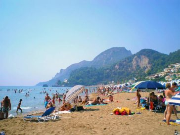 Glyfada beach in Corfu