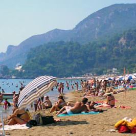 Glyfada beach and resort in west Corfu