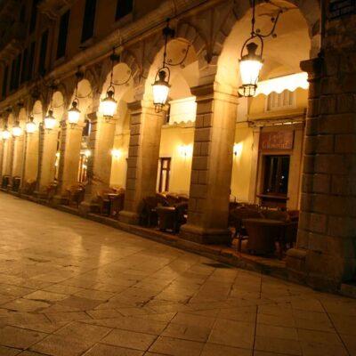 Corfu Liston at a winter night