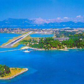 Corfu: The airport and mouse island from an airplane