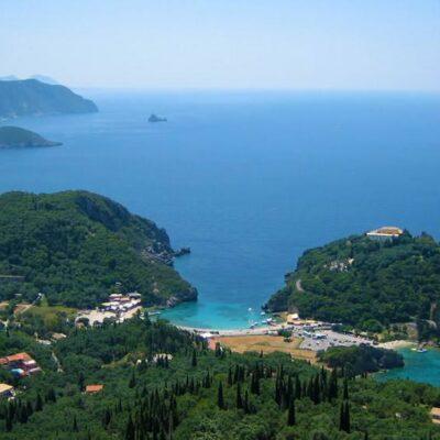 Paleokastritsa view from Lakones mountain village