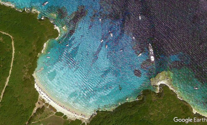 Voutoumi beach from google earth