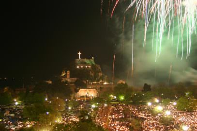 Shot from the fireworks on Easter in Corfu