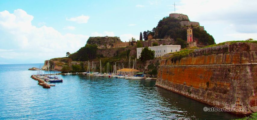 Old fortress in Corfu town from Faliraki