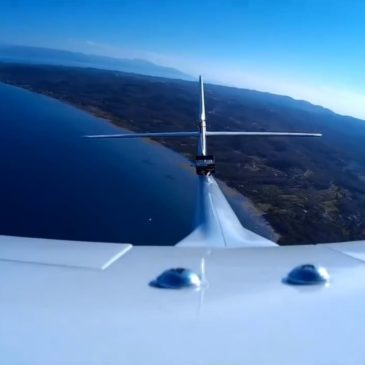 Glider flying over southeast Corfu