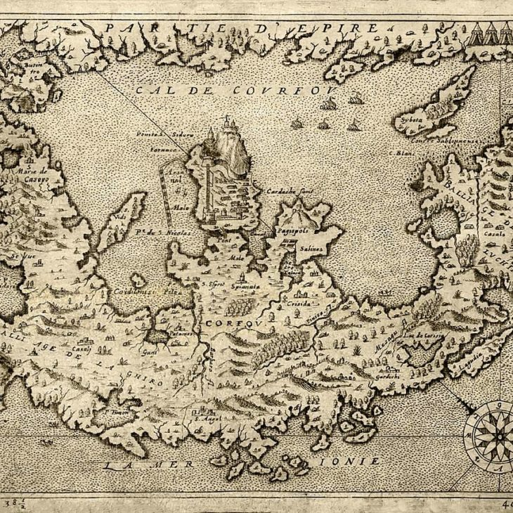 Corfu of the Middle Ages on a Map of 1575