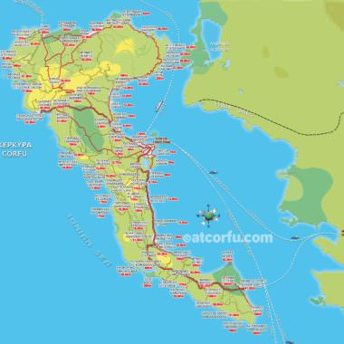 Map with distances in Corfu