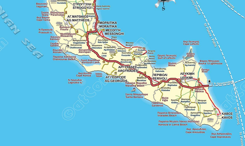 Map of South Corfu