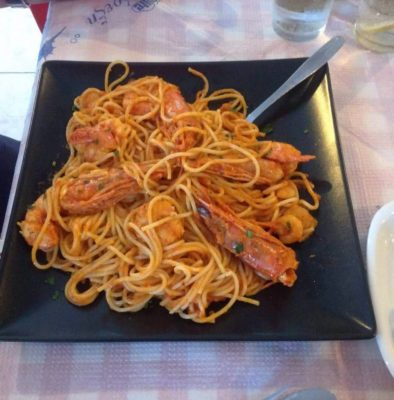 Spaghetti with shrimps by Captain Octopus
