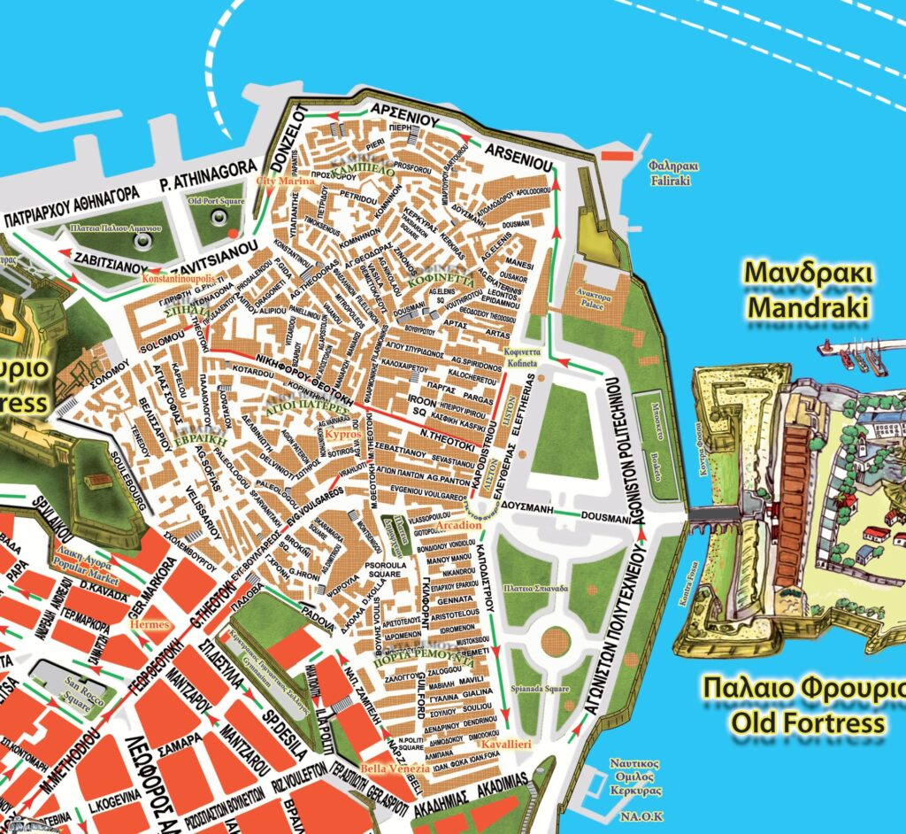 Map with the Old part of Corfu town