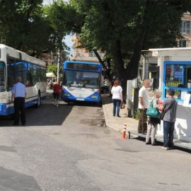 Blue bus starting point in Saroko Corfu
