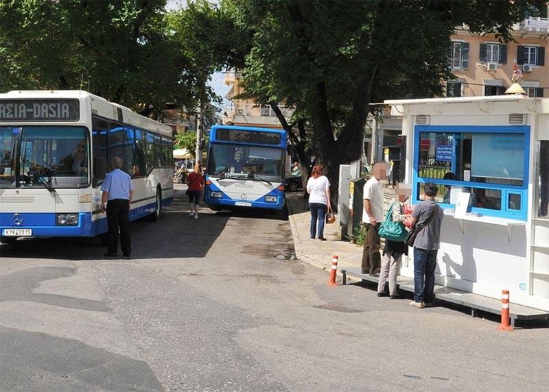 Blue bus starting point in Saroko Corfu